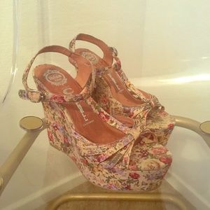 Jeffrey Campbell floral wedges